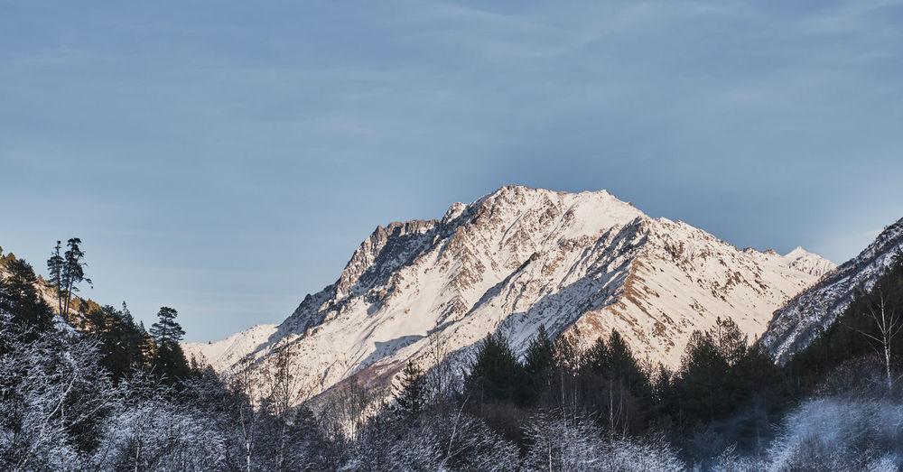 Winter mountain landscape of the elbrus region, north caucasus, kabardino-balkaria, russia.