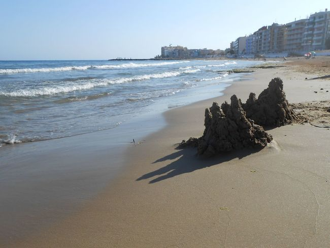 Sand castles on the beach Costa Blanca Holiday Holidays Surf Torrevieja Vacations Appartments Beach Beauty In Nature Clear Sky Day Horizon Horizon Over Water Nature Outdoors Sand Sandcastles Sandy Beach Scenics - Nature Sea Sky Tranquility Washed Out Water Wave Waves