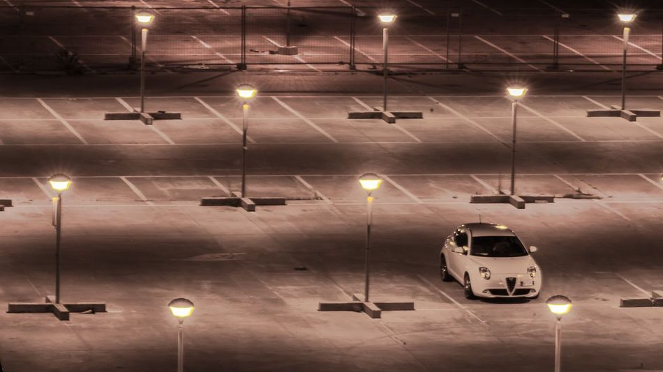 alone as a car in an empty parking Illuminated Transportation No People Night Urban Car Parking Empty Empty Places Alone Lonely Loneliness Minimalism Minimal