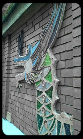 edit #1 Blackandwhite Green Blue Dragon Wall Brick Colorsplash Shenron Streetphotography