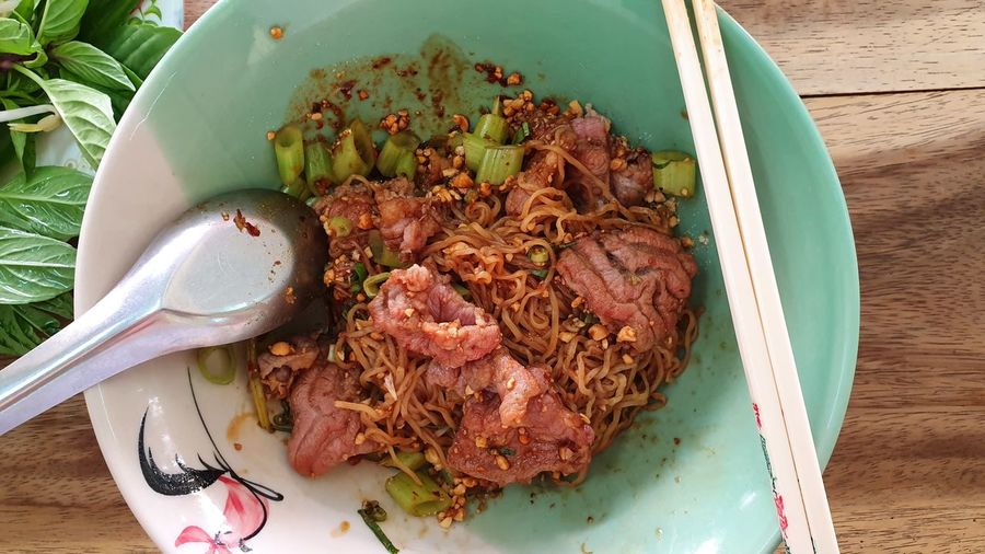 Beef Delicious Plate High Angle View Directly Above Close-up Food And Drink Served Thai Food Noodles Ramen Noodles Thai Culture Chopsticks