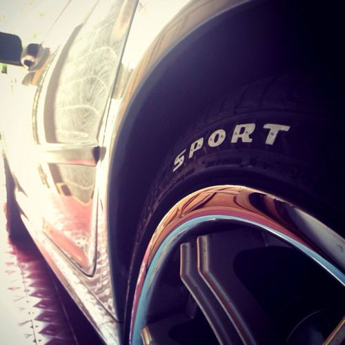 """Can't skating for a while 'coz got twisted ankle a bit, so I fill this Sunday with custom DIY font paint tyre for BMW E46 on my 18"""" rims. Yeay! 😎"""