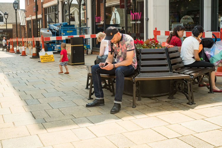 Colchester town centre. Culver Square Essex Adult Architecture Building Exterior City Colchester Day Full Length Lifestyles Men Outdoors People Real People Sitting Togetherness Town Centre Women