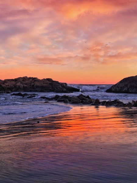 Sunset Water Sky Sea Beauty In Nature Cloud - Sky Scenics - Nature Horizon Over Water Motion Orange Color Tranquility Outdoors Tranquil Scene Nature Idyllic Wave No People Land Beach