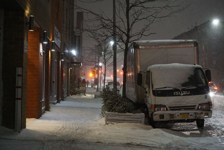 Winter Illuminated Snow Cold Temperature Night Transportation Bare Tree Commercial Land Vehicle Outdoors Snowing No People Walking In The Snow Snow Day Brooklyn Snow ❄ Winter Street Light Street Weather Nightphotography Night Lights Night
