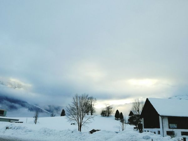 Snow Winter Cold Temperature Tree Cloud - Sky Nature Scenics Sky No People Beauty In Nature Outdoors Mountain Day Tranquility Tranquil Scene Landscape Beauty In Nature Rural Scene Weather Built Structure Log Cabin Cottage