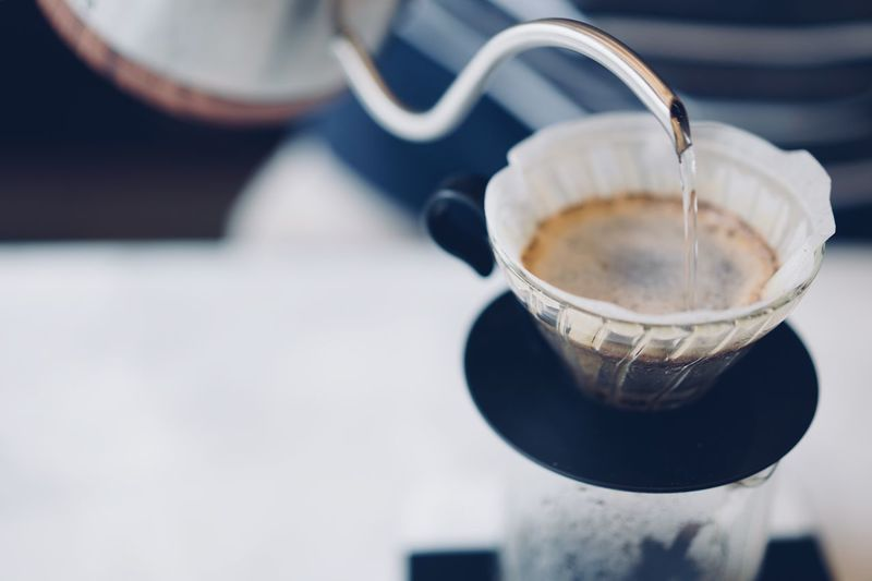 Filter Barista Drip Brew Kettle Water Hot Pour Over Drink Coffee Refreshment Cup Mug Table Pouring