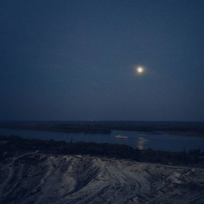 Ещё Landscape Evening Autumn September Sky Moon Moonlight Riverside River Light Mountains Showmerussia