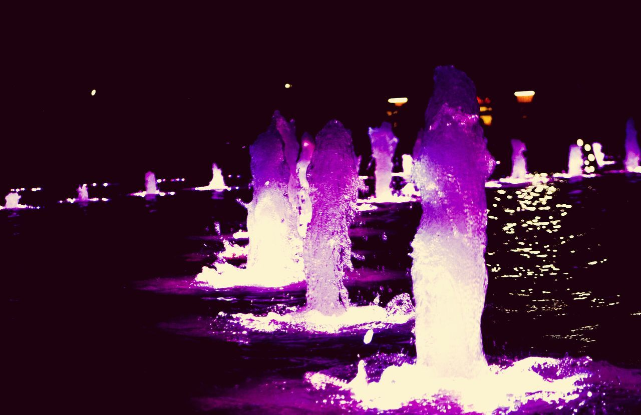 night, illuminated, outdoors, winter, cold temperature, water, motion, no people, nature, sky