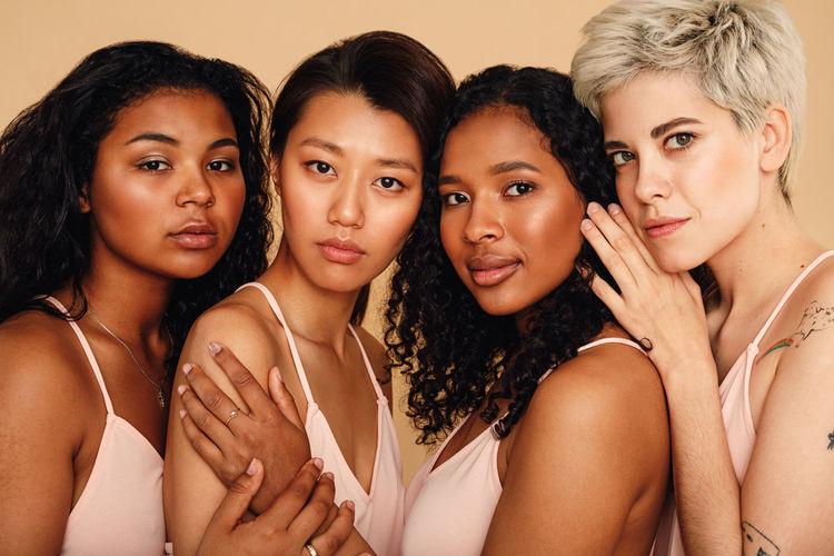 Real People Lifestyles Indoors  Studio Shot Diversity Mixed Race Women Girls Beautiful Woman Skin Identity Young Women Young Face Friends International Women's Day 2019