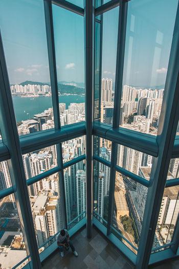 Cityscape seen through window