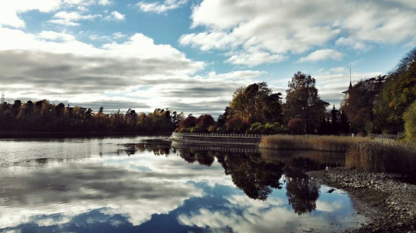 Reflection Tree Cloud - Sky Water Lake Sky Tranquility No People Nature Outdoors Scenics Landscape Day Beauty In Nature Finland Helsinki Huawei