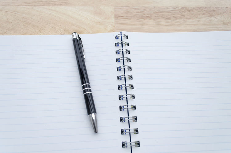 Blank Day Diary Empty High Angle View Indoors  No People Note Pad Notes From The Underground Paper Spiral Notebook Writing