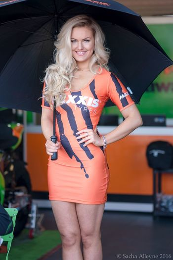 Smiling Blond Hair Portrait Young Women Model Beautiful Gridgirls Britishsuperbikes Grid Girl Outdoors Standing Woman