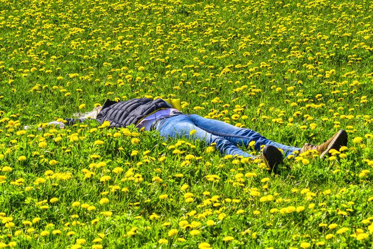 Full length of woman lying down on field