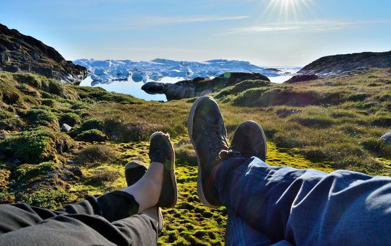 Photo taken by Ilulissat Icefiord, Greenland, at a Unesco world heritage site. Adventure Arctic Arctic Circle Beauty In Nature Blue Sky Destination Green Ice Icebergs Legs Nature Nature Ocean Outdoors Personal Perspective Relaxing Scenics Sea And Sky Summergefühle Tranquil Scene Tranquility Travel Travel Destinations Unesco UNESCO World Heritage Site