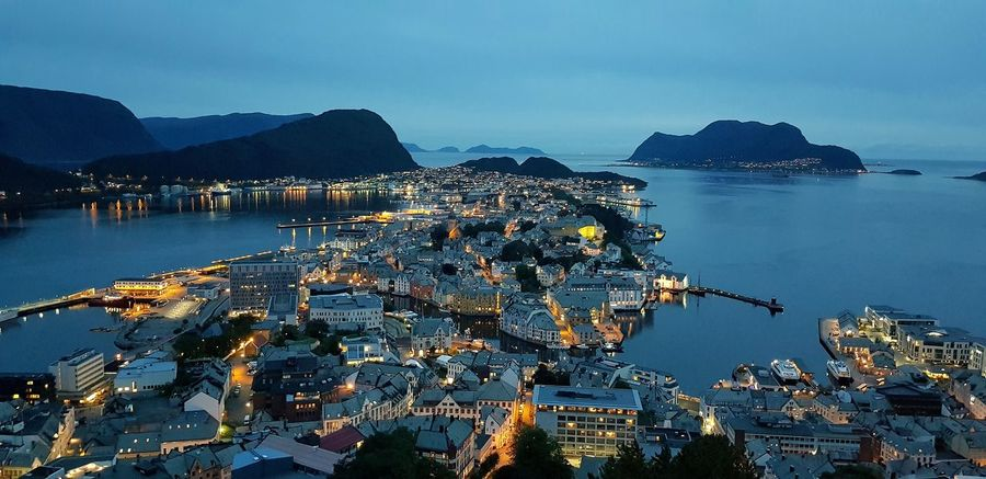 Blue Hour in Ålesund Light People Panoramic View View Panoramic Panoramic Photography Ålesund, Norway Poster Magic Norway Norway🇳🇴 Norge Summer2018 Blue Sky Beauty In Nature Ski Landscape Bluehour Blue Mountain Beach Nautical Vessel