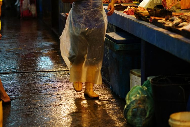 Streetphotography Wetmarket Wetmarketscene Yellow Yellow Boots Drink Business Finance And Industry Water City Close-up Food And Drink Fish Market Butcher Market Farmer Market Market Stall Street Market