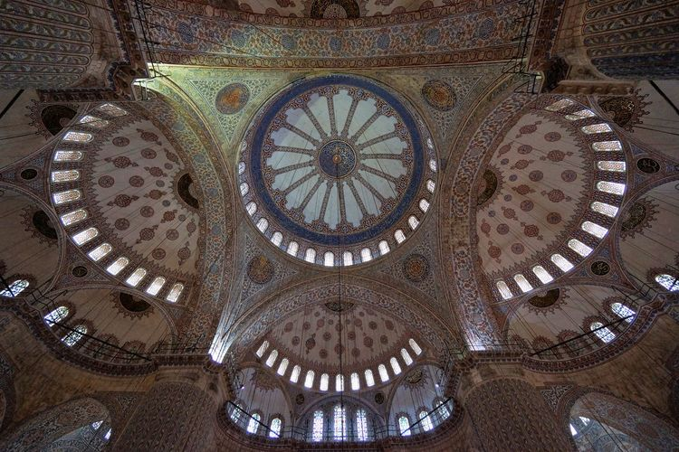 blue mosque inside Architecture Architecture And Art Blue Mosque Built Structure Ceiling Day Indoors  Islamic Architecture Islamic Art Low Angle View No People Pattern Rose Window Travel Destinations Worship Place