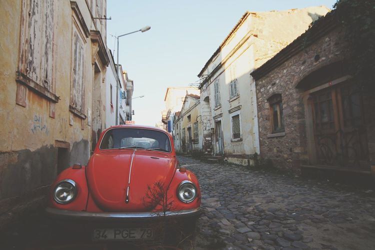 Türkiye Turkey Cunda Island Cunda VW Beetle Pastel Power Red Beetle Pavedstreets Paved Road Pavedstreet Old Houses MeinAutomoment