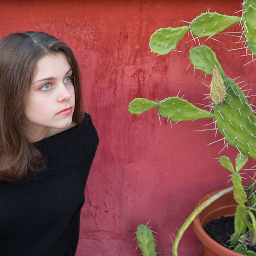 Girl and cactus