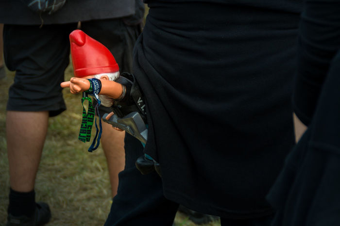 You never know what to expect at a Heavy Metal Festival \m/ ..... Dwarf \m/ Adult Close-up Day Devil Horns Heavy Metal Low Section Men Metal Sign Midsection Outdoors People Pommesgabel Real People Rear View Standing The Week On EyeEm