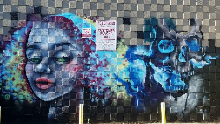 Back alley artwork! Pixelated Futuristic Outdoors People Adult Day EyeEmNewHere Walking Around Town Samsung Graffiti Art Wall Art ♥ Wall Art Tatoo Art Tatoo Shop Brickwall Creative Imagination