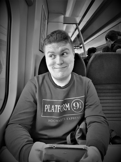 Southeastern Highspeed UK 2017 2017 2017 Year 2017 Photo Black & White Adult Adults Only Black And White Blackandwhite Blackandwhite Photography Day Happiness Indoors  Looking At Camera Mature Adult Mature Men Men One Man Only One Person People Portrait Real People Sitting Smiling Transportation Waist Up