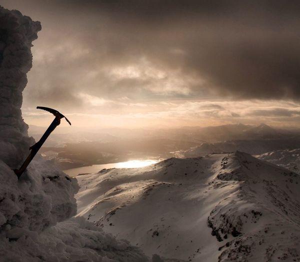 The summit of munro Ben Lawers, Scotland Munro Scotland Snow Ice Walk Climb Alba Summit Ben Lawers Visit Scotland Mountain Clouds Ski Cold Cairn Ice Axe Winter Loch  Landscape Reflection No Filter View Peak Sun Light