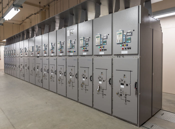 Technology Control Indoors  Industry Equipment In A Row No People Electricity  Fuel And Power Generation Factory Control Panel Switch Control Room Connection Machinery Meter - Instrument Of Measurement Security Locker Safety Power Station Power Supply Electricity