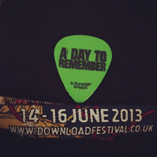 So I finally got to see one of my favourite bands ever and caught a pick! DownloadFestival ADayToRemember ADTR