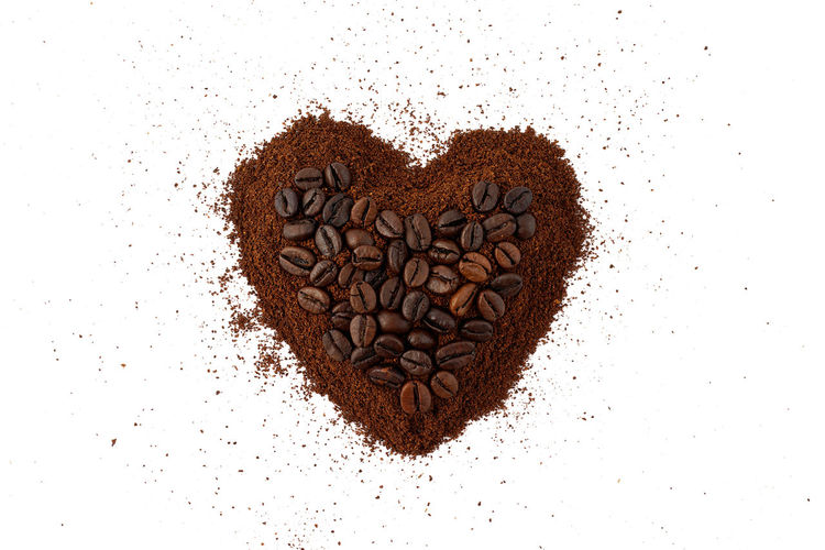Americano Arabica Aroma Backgrounds Beans Beverage Brown Cafe Caffeine Coffee Coffee Beans Coffee Powder Espresso Food And Drink Fresh Grain Ground Coffee Pattern Roasted Coffee Bean Robusta White Background Heart Shape Heart
