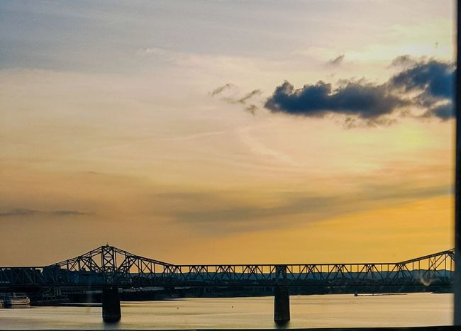 Louisvilleky TheVille Sunset Ohio River Sunsetoverwater Commute Scenery Drivebyphotography Thebridge Sky And Clouds Lost In The Landscape