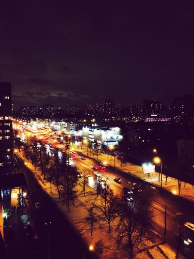 Illuminated Night City Architecture High Angle View Cityscape Road City Life Traffic Outdoors First Eyeem Photo