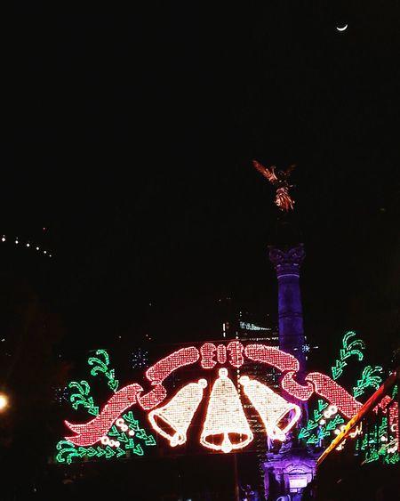 Illuminated Night City Moon Celebration Christmas Christmas Decoration Christmas Lights Celebration Event Christmas Tree No People Sky Tree Outdoors Midnight