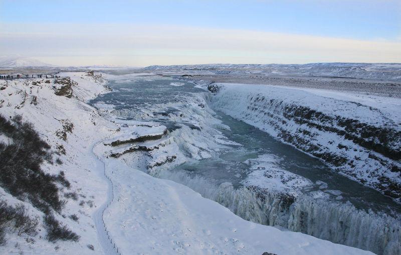 The waterfall gullfoss, iceland in wintertime, europe