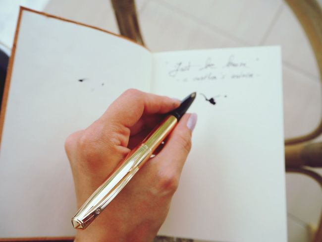 Human Hand Human Body Part Holding Motto Advice Written Words Pen Nibs EyeEmNewHere Writing Instrument Ink Pen Old-fashioned Time To Write Writing Golden Pen Write Your Own Story Knowledge Is Power Retro Styled Black Ink Ink On Paper Motivation Success Education