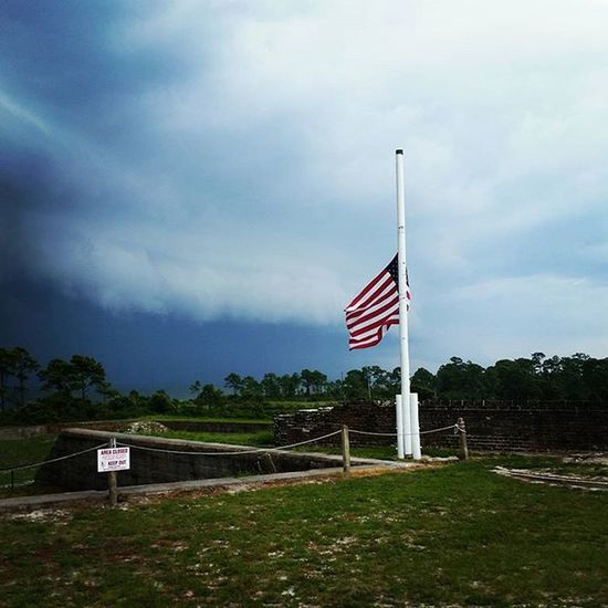 Incoming storm at Fort Pickens Storm Rain Weather Fortpickens History Flag Military Civilwar Florida