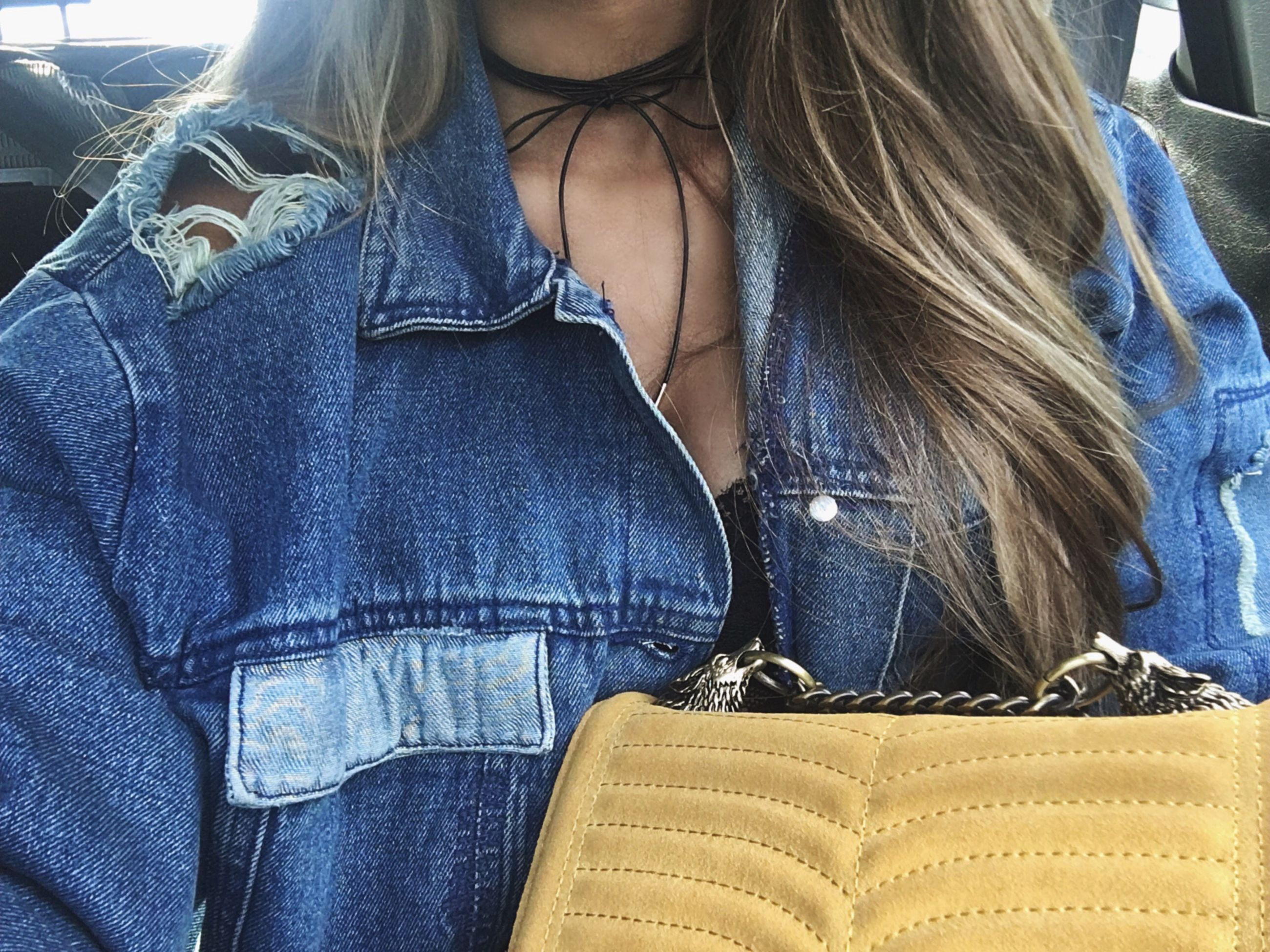 midsection, jeans, close-up, denim, casual clothing, jacket, front view, young adult, mid section, clothing, friendship, t-shirt, well-dressed, female