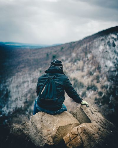 High angle view of person on mountain