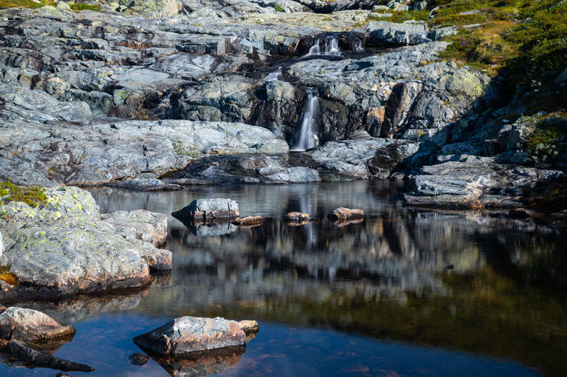 Reflection of rock formation in lake