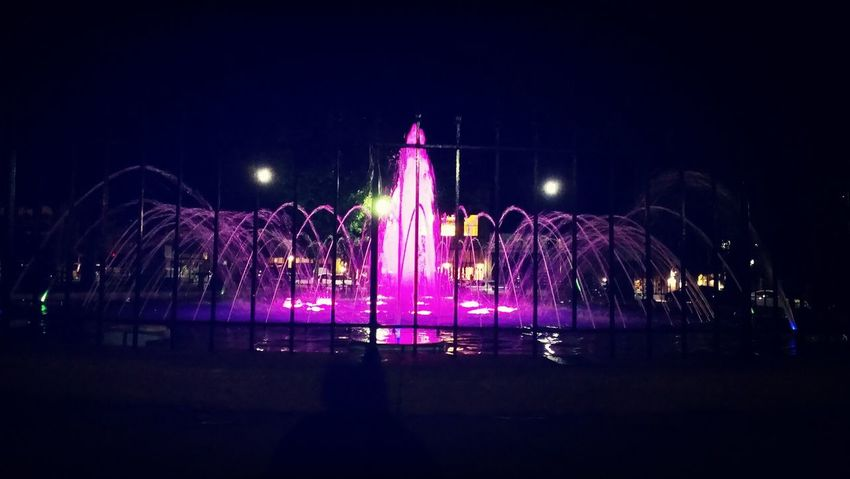 Fountains Night Summertime Enjoying Life