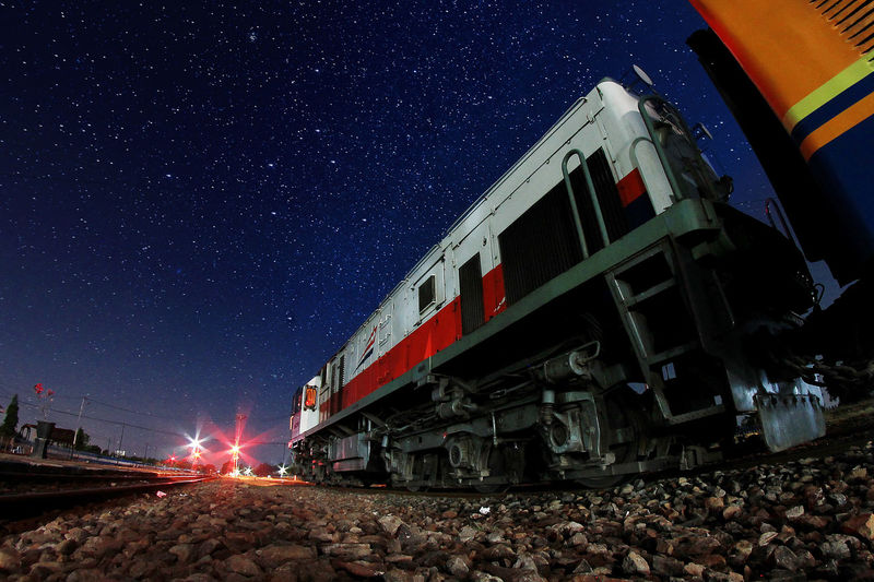 Low angle view of train at night