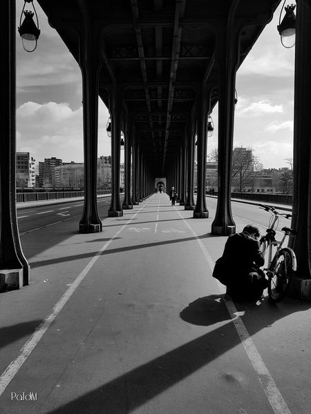 Architecture Architectural Column Bridge - Man Made Structure Built Structure Outdoors City Cloud - Sky Below People Of EyeEm Black And White Collection  Black And White Collection  Blackandwhite Light Capture The Moment From My Point Of View Samsung Galaxy S7 Malephotographerofthemonth People Transportation Mode Of Transport Paris, France  Architecture Pont De Bir-hakeim