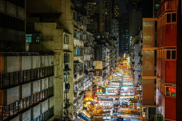 High Angle View Of Illuminated Market In City At Night