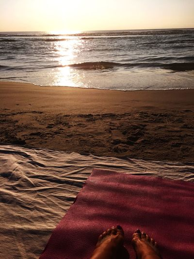 Waiting, high tiide Morning relaxing yoga sea