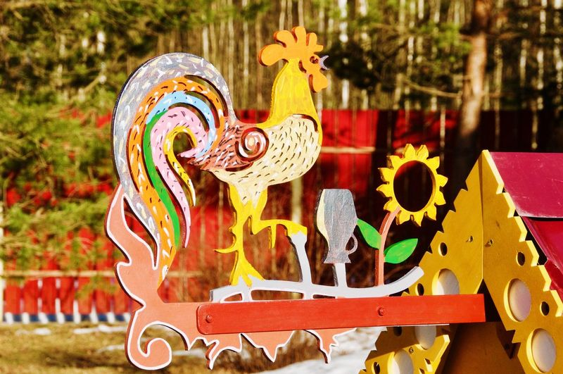 Rooster Windmill Weather Vane Colors Mill Toy House Wooden Bilding Hendmade Astrology Sign Multi Colored Close-up