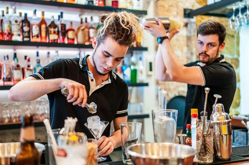 Young man preparing food