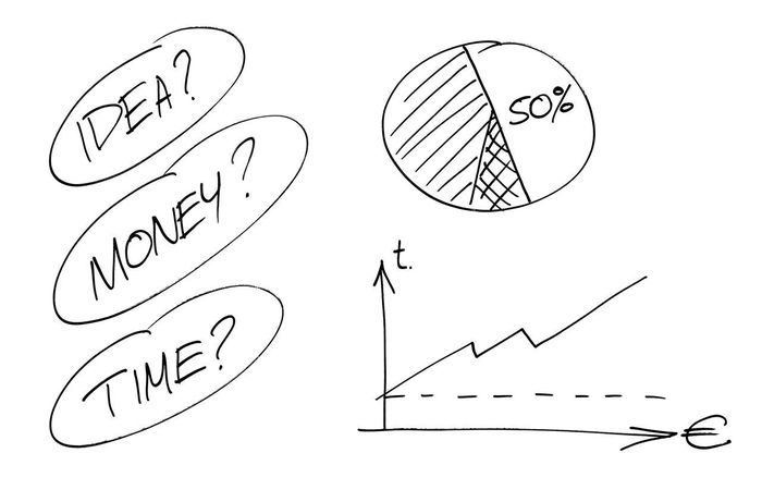 Time, money and Idea concept Arrow Business Cash Chart Conceptual Diagram Draw Drawing Efficiency Graph Graphic Growth Icon Idea Market Marketing Money Pen Pencil Productivity Progress Sales Sketch Statistics  Time