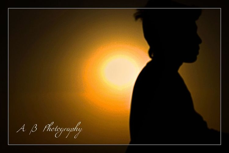 Sunset Silhouette One Person Auto Post Production Filter Orange Color Sky Transfer Print Real People Lifestyles Nature Men Waist Up Child Indoors  Childhood Adult Side View Clothing